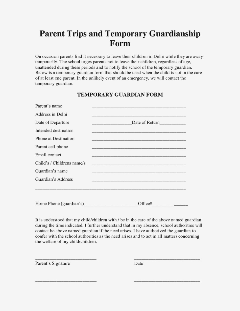 Legal Guardianship Forms In Case Of Death