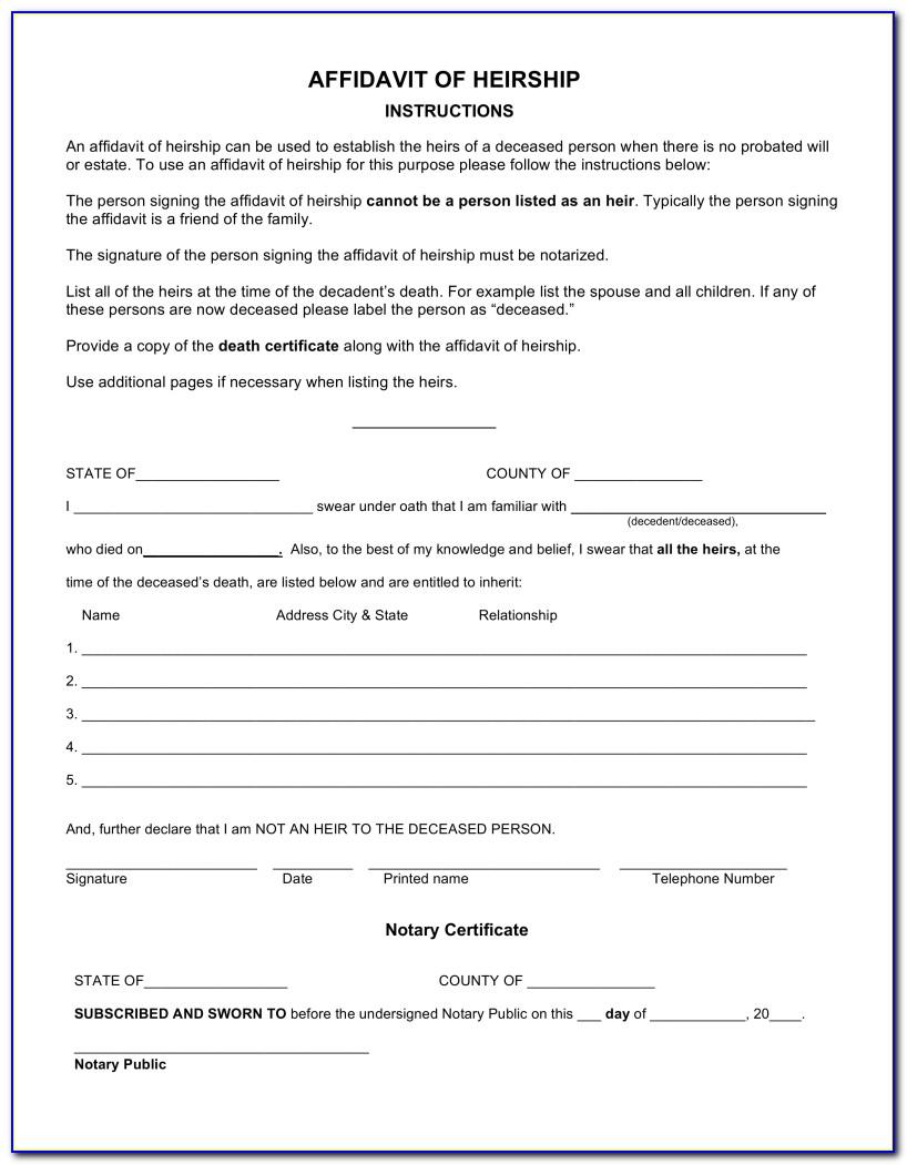 Legal Heir Affidavit Format