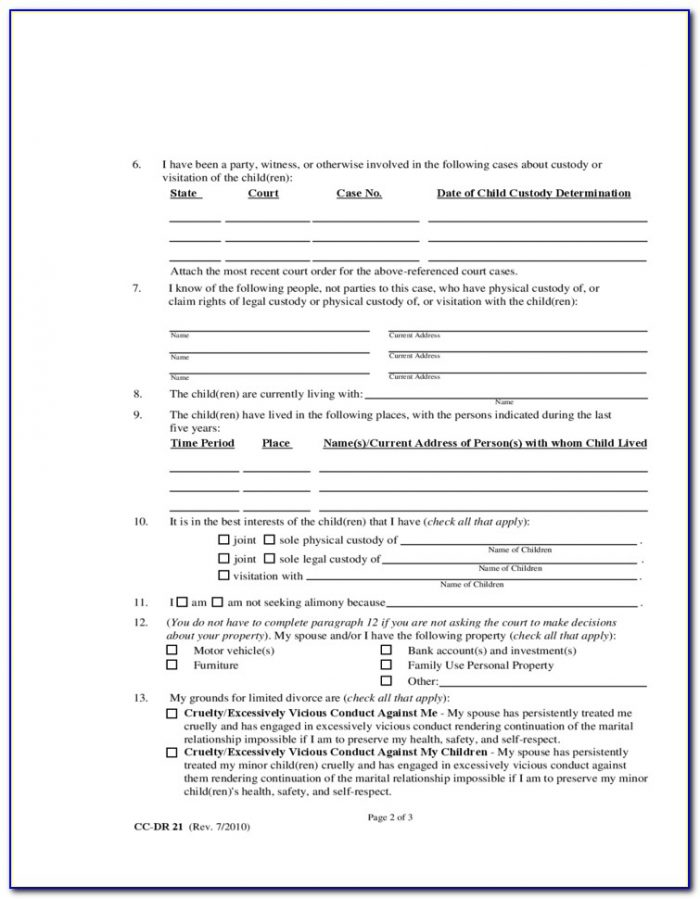 Limited Divorce In Maryland Forms