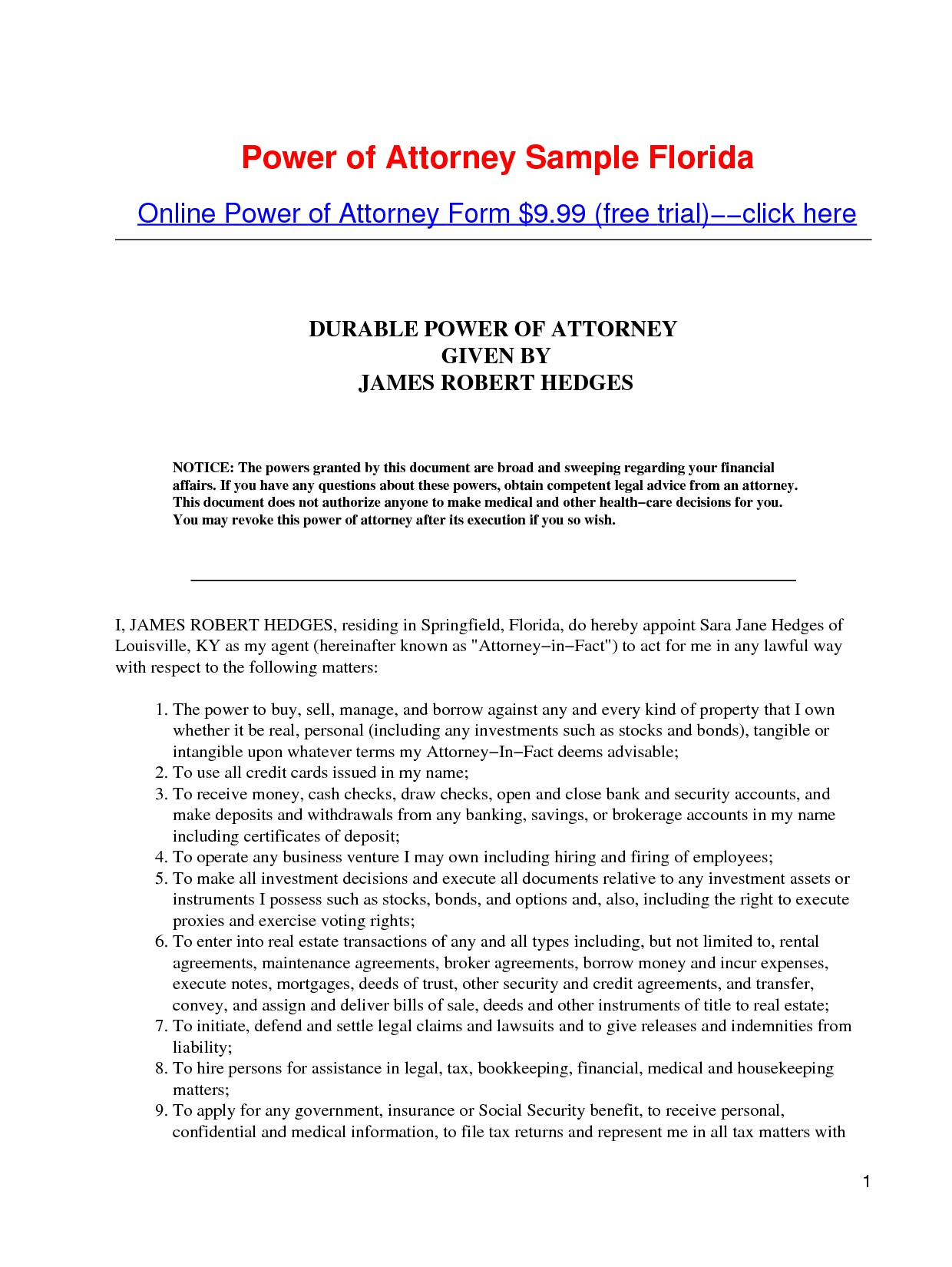 Limited Power Of Attorney Form Nc