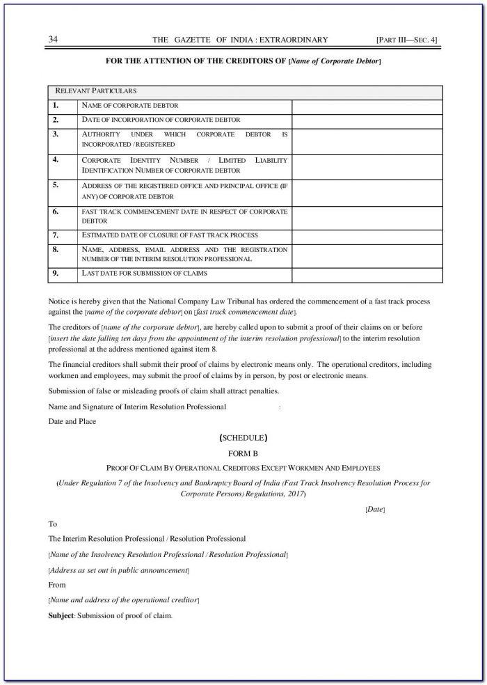 Liquidation Creditor Claim Form