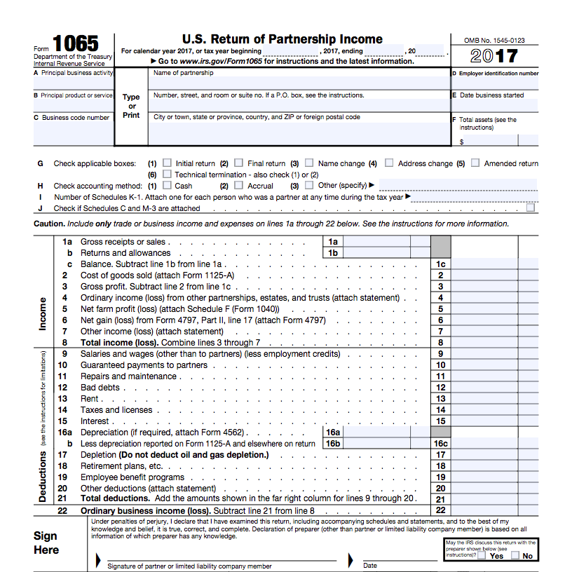 Llc Tax Form 1065