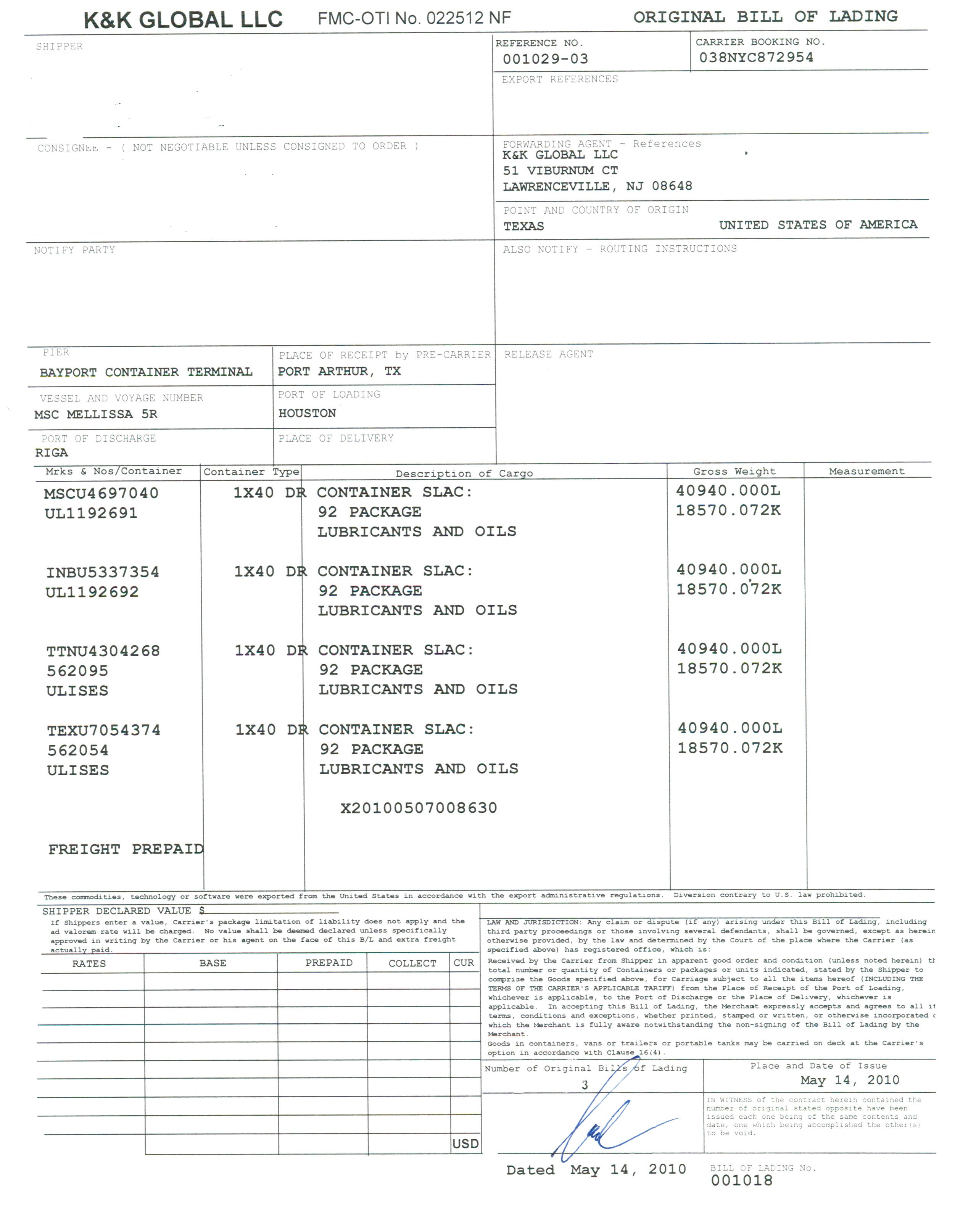 Lloyd's Form Bill Of Lading