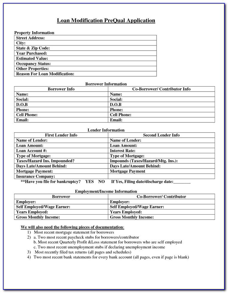 Loan Modification Forms Pdf