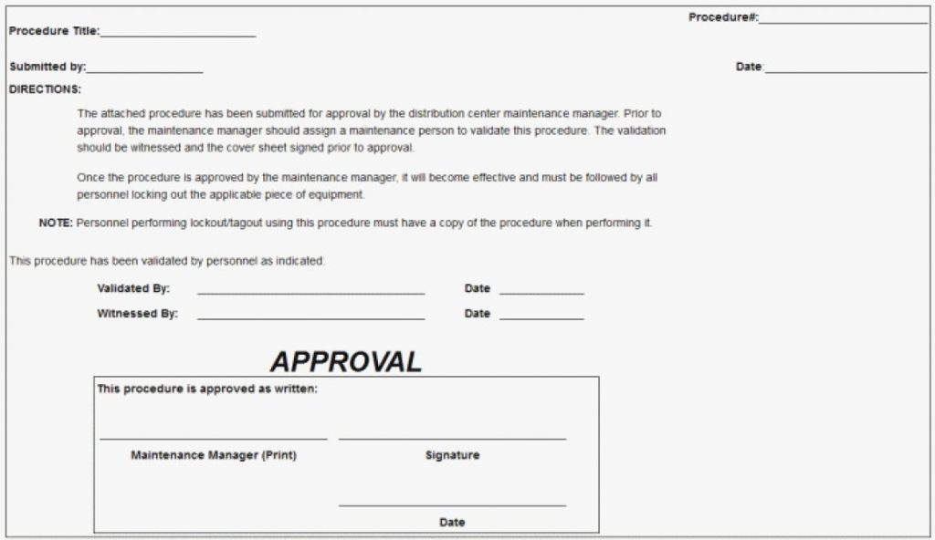 Lockout Tagout Form Template