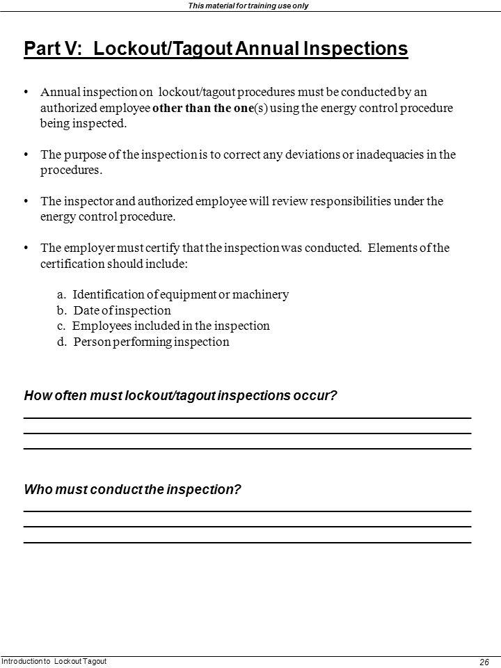 Lockout Tagout Procedure Annual Review Form