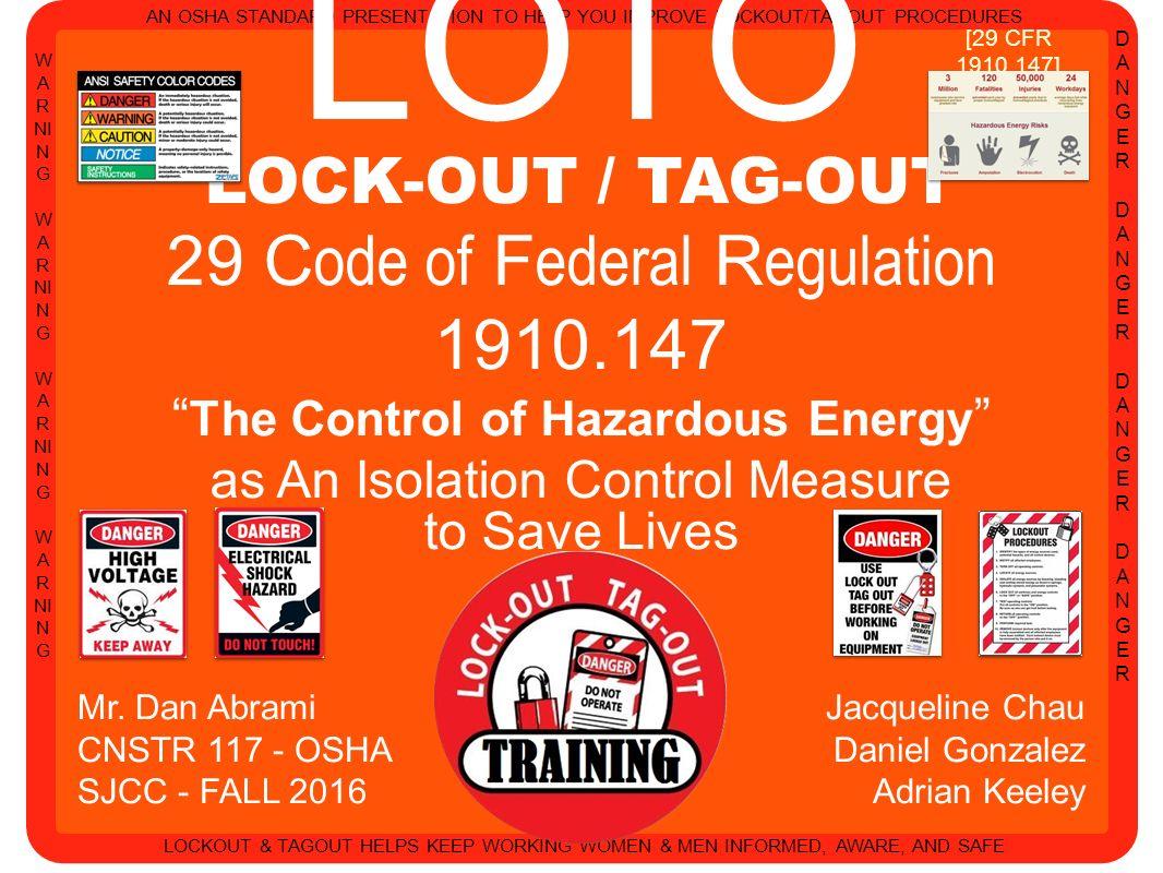 Lockout Tagout Procedures Osha