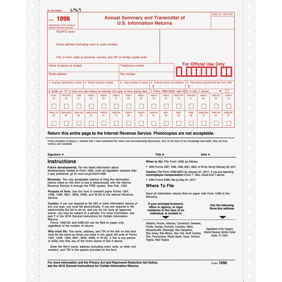 Mailing 1096 And 1099 Forms