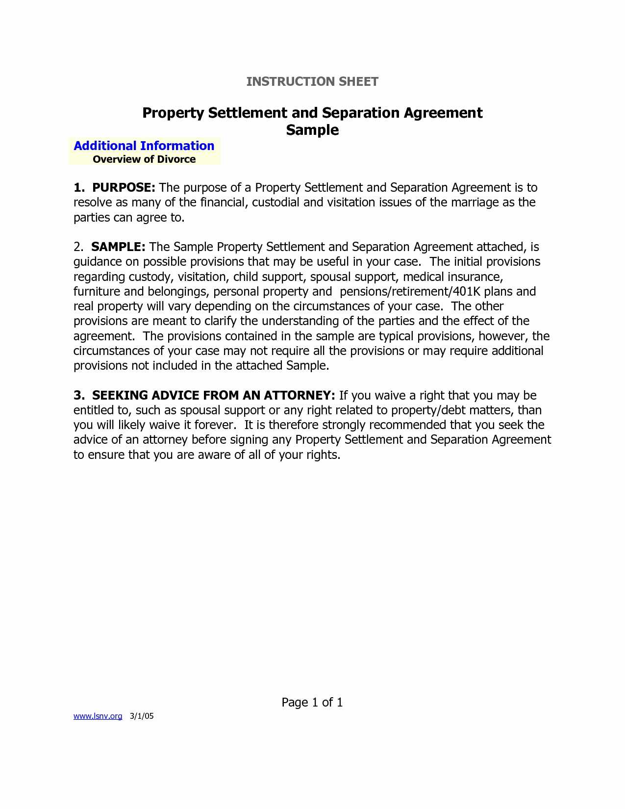 Marital Settlement Agreement Template Elegant Separation Agreement Virginia Unique Separation Agreement Form
