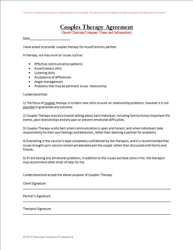 Marriage And Family Therapist Intake Forms