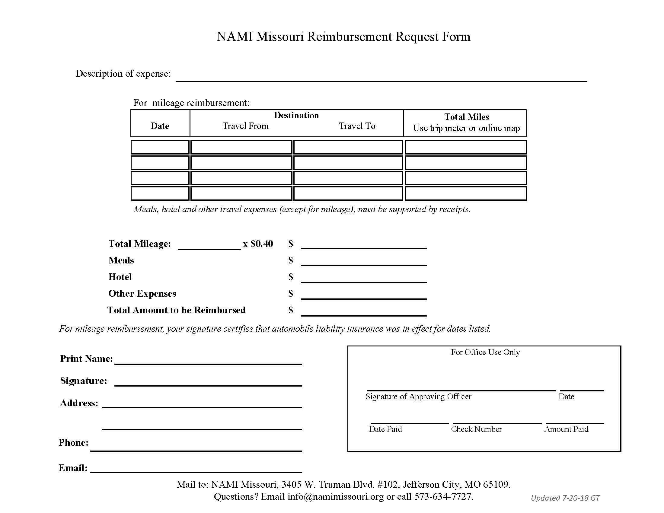 Maryland Workers Compensation Mileage Reimbursement Form