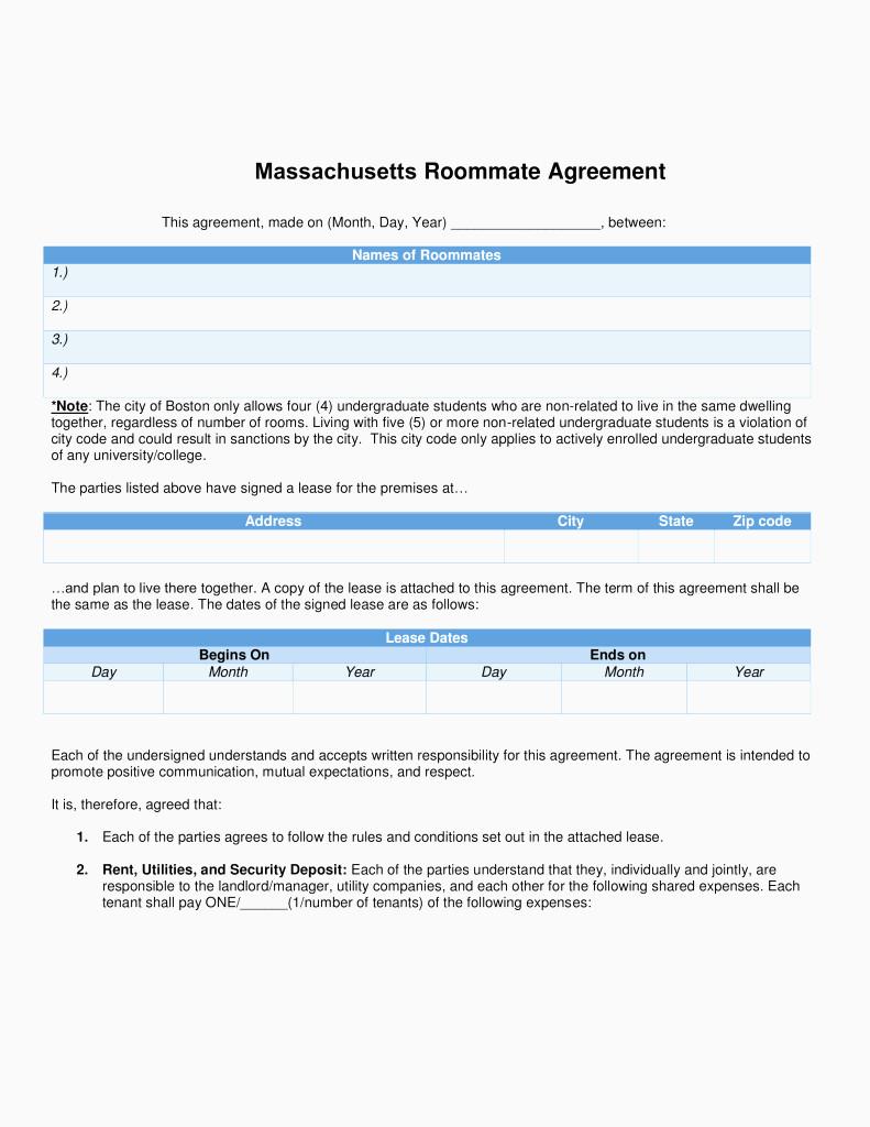 Massachusetts Rental Lease Form Free