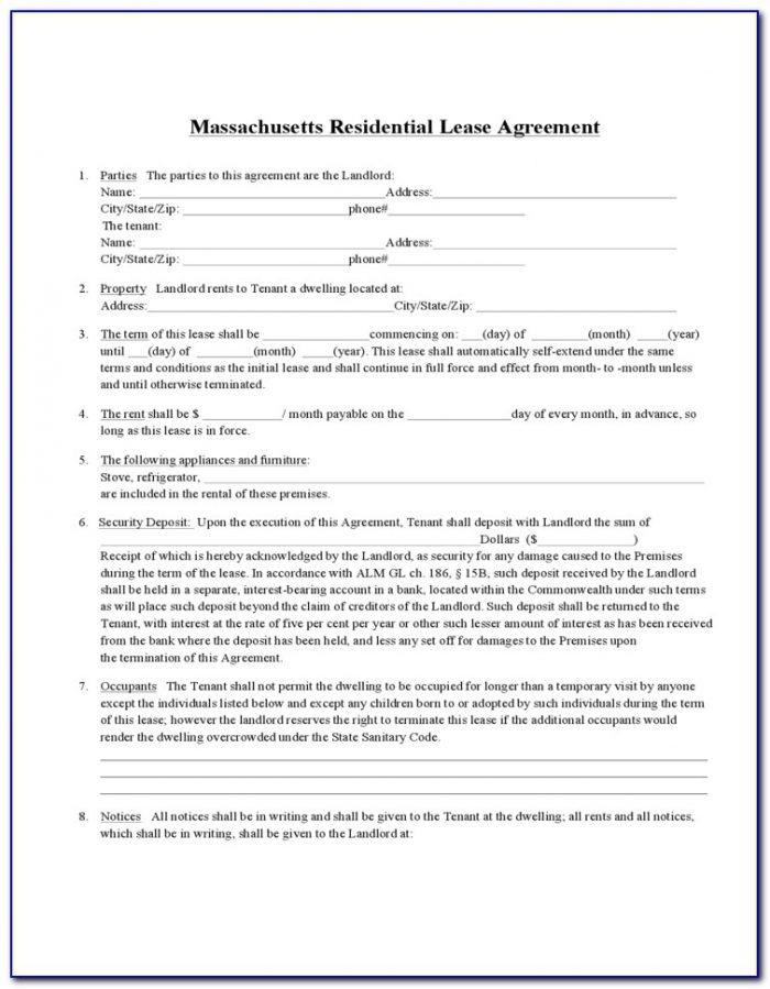 Massachusetts Residential Lease Renewal Form