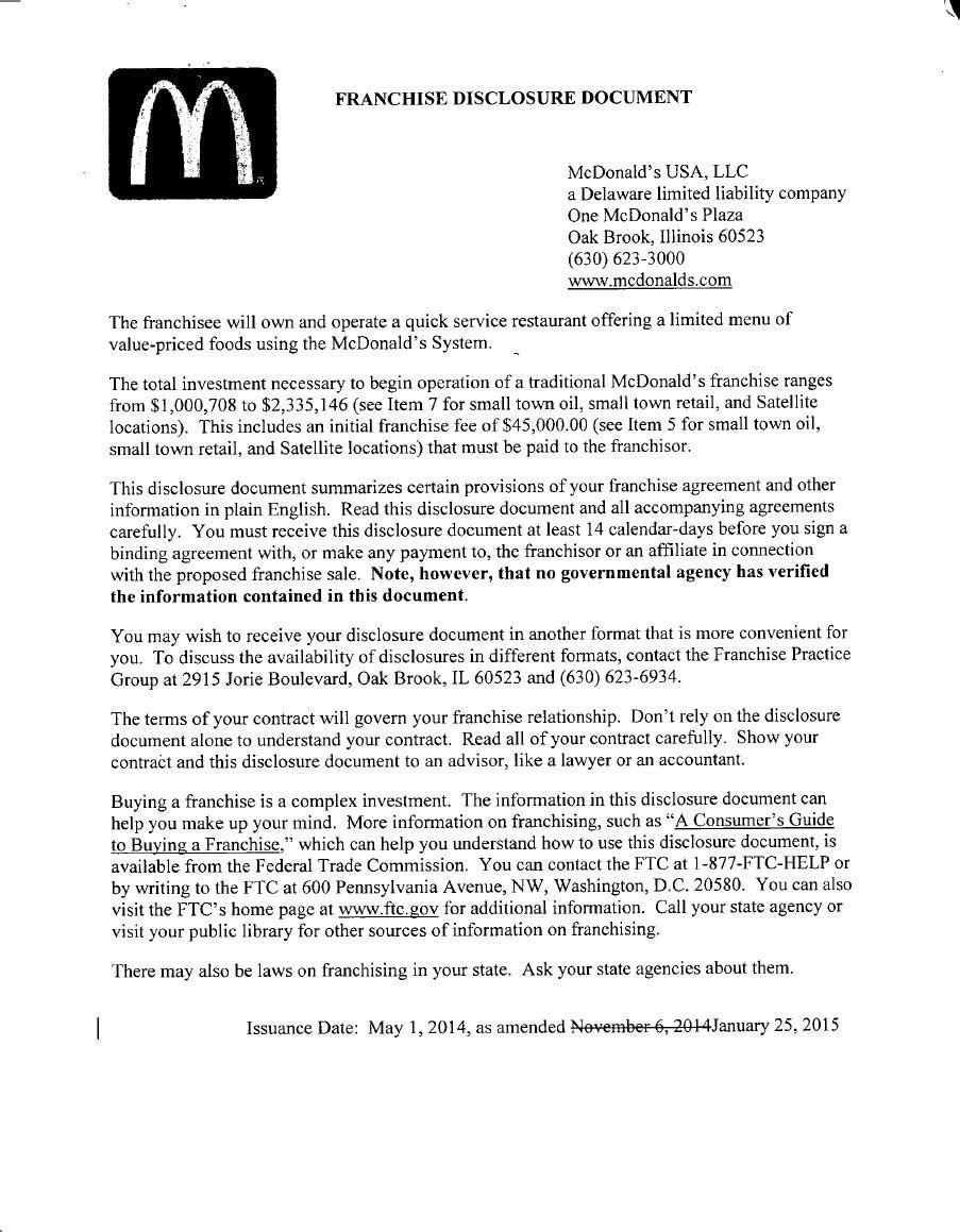 Mcdonald Franchise Application Form India