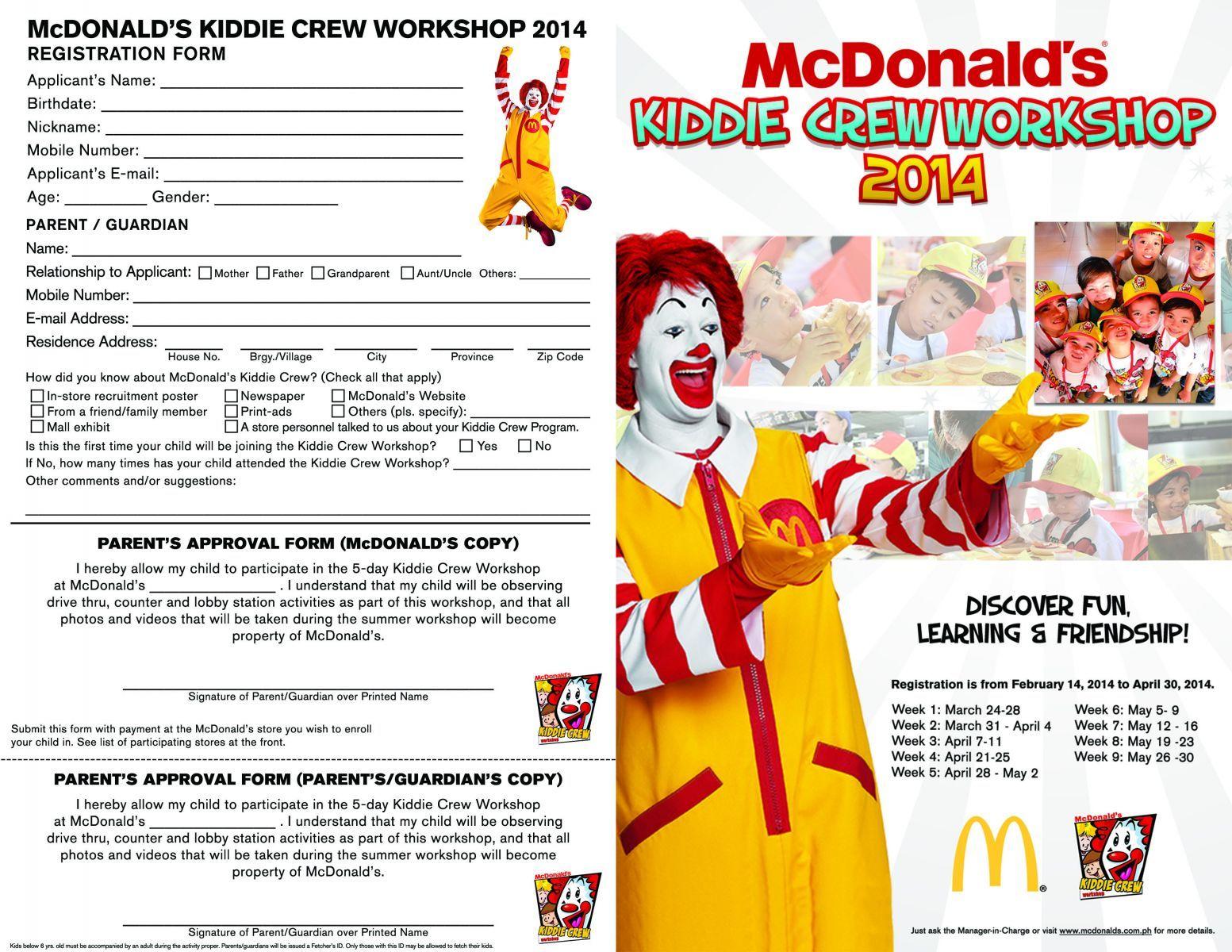 Mcdonald's Kiddie Crew 2017 Application Form
