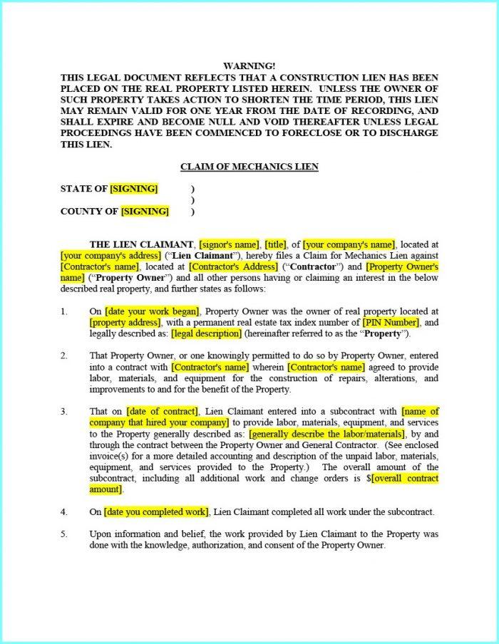 Mechanic's Lien Contract Form Texas
