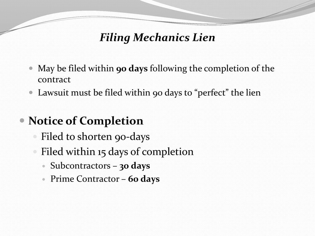 Mechanics Lien Notice Of Completion