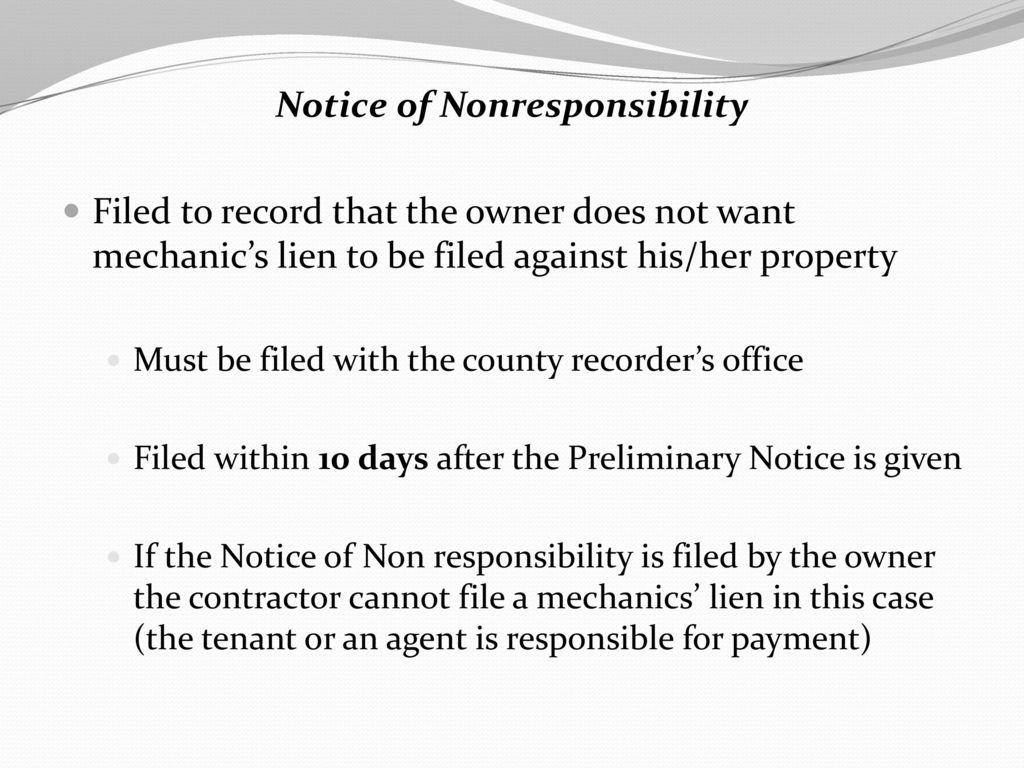 Mechanics Lien Notice Of Nonresponsibility