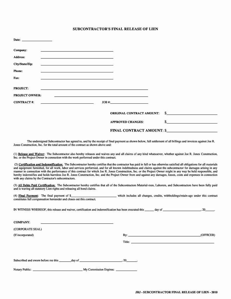 Indiana Mechanics Lien Release Form Fresh Lien Waiver Form Missouri Fresh Free Forms 2019 South Carolina Lien
