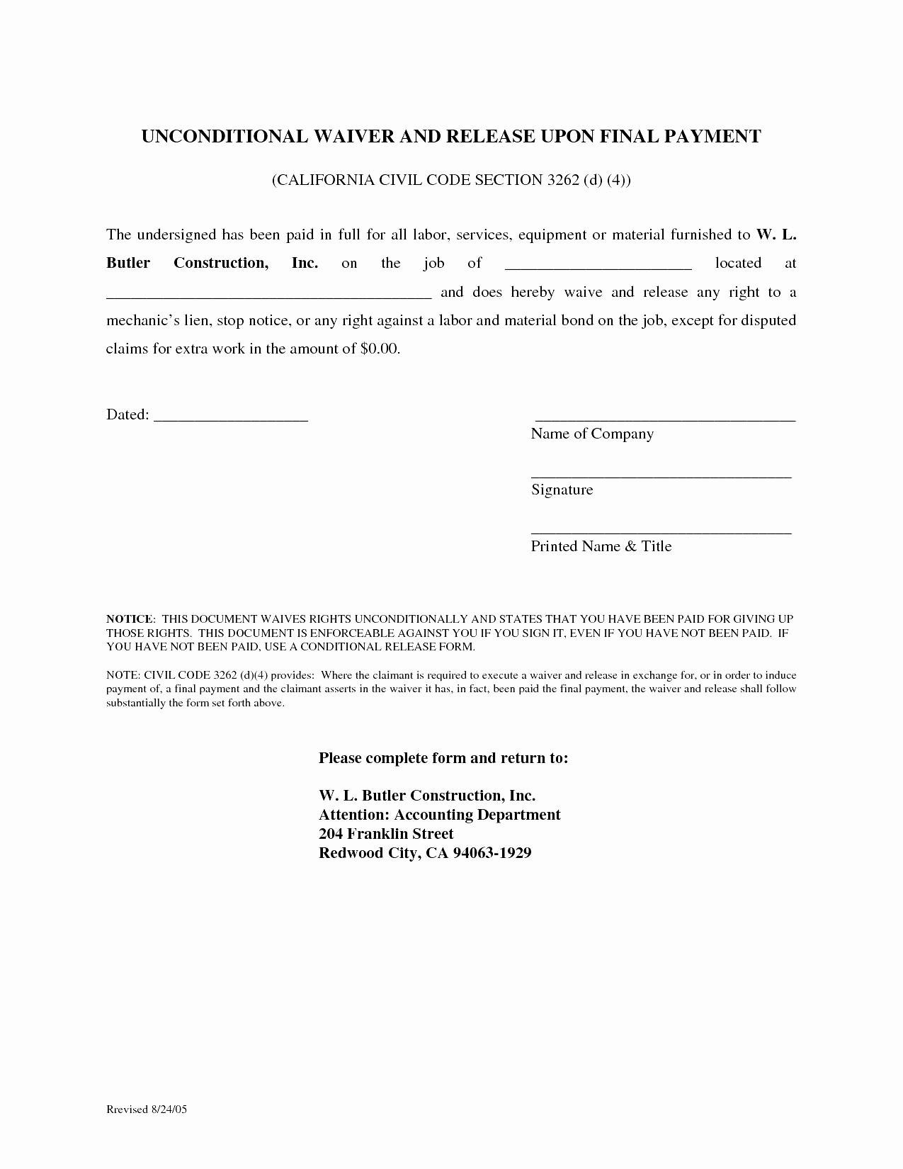 Disclaimer Template Letter Unique 20 Fresh Texas Mechanics Lien Form