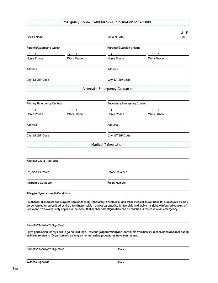 Medic Alert Application Forms