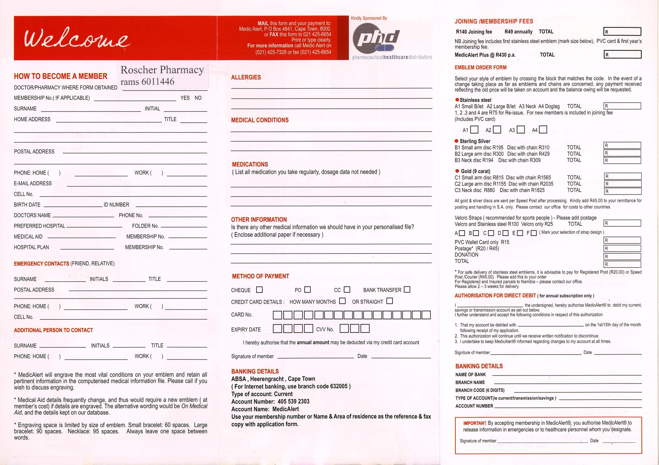 Medic Alert Bracelet Application Form Pdf