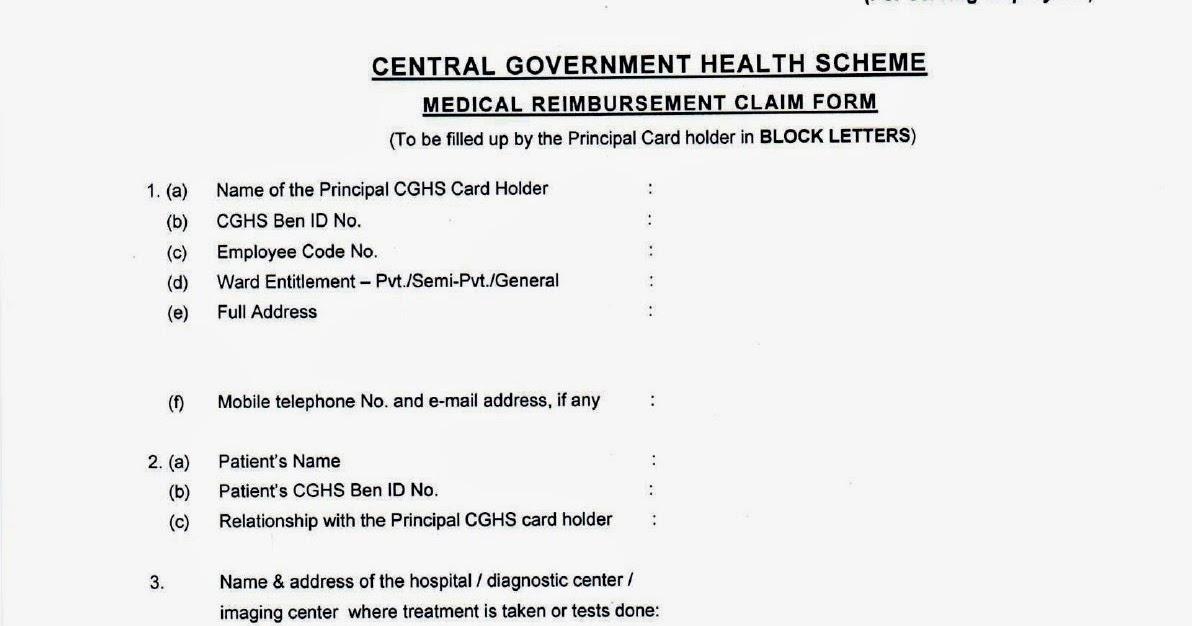 Medical Bill Claim Form For Central Govt Employees