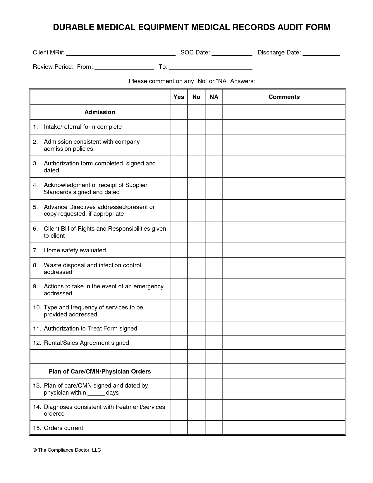 Medical Chart Audit Example