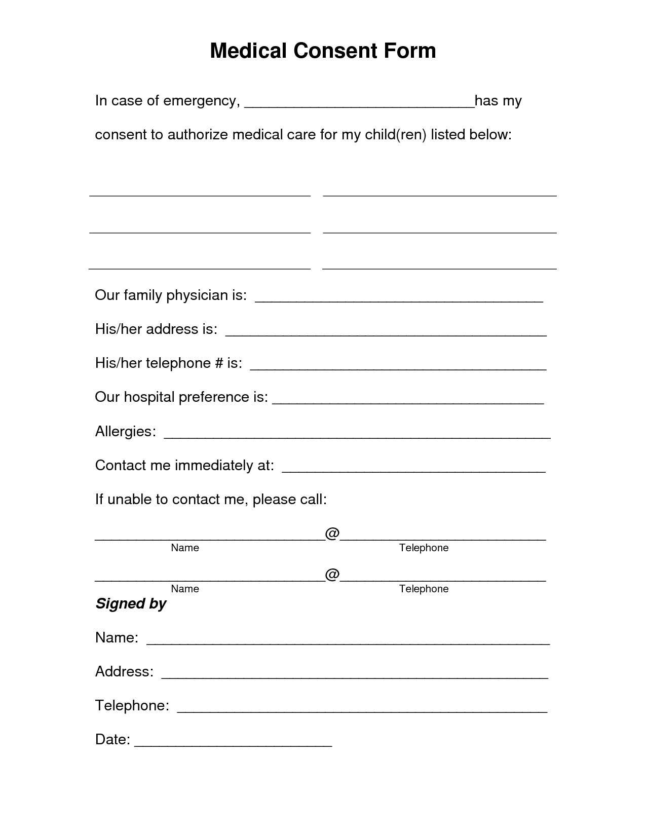 Medical Consent Form For Minor Child Template