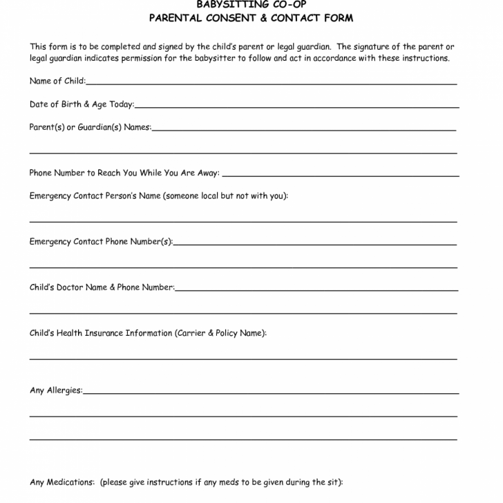 Medical Consent Template For Minor