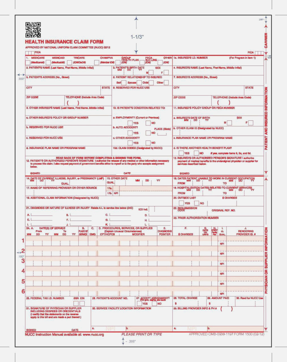 Medicare Billing Form 1500