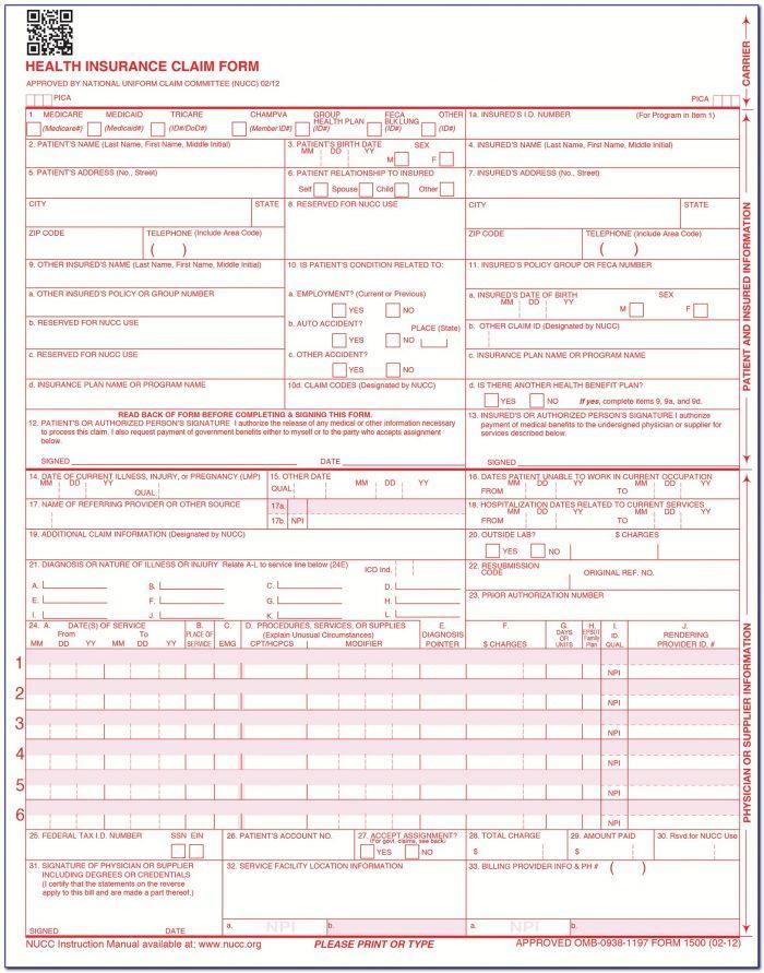 Medicare Claim Form 1500 Instructions