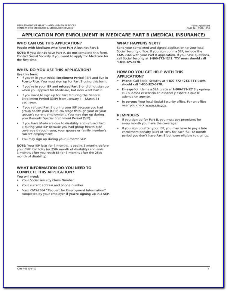 Medicare Part B Sign Up Forms
