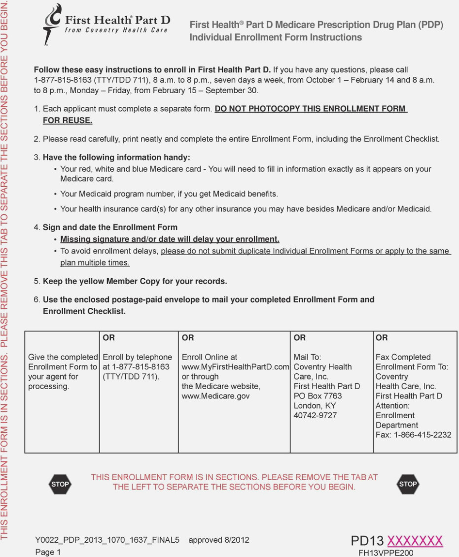 Medicare Part D Application Form Pdf