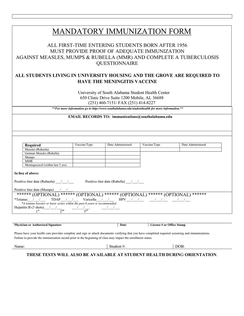 Meningitis Vaccine Form For College
