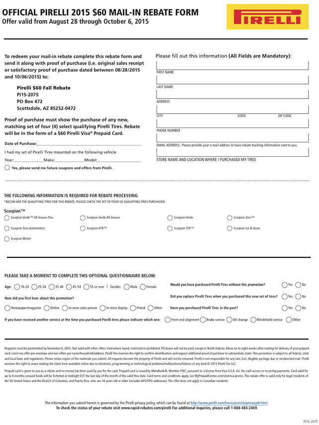 Michelin Tire Mail In Rebate Form