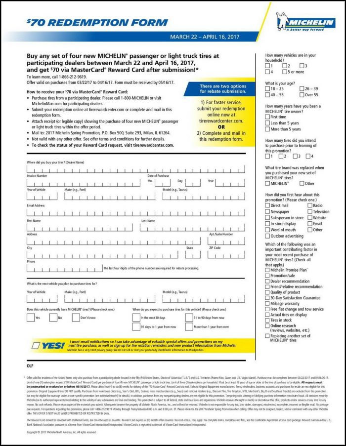 Michelin Tire Rebate Form August 2018