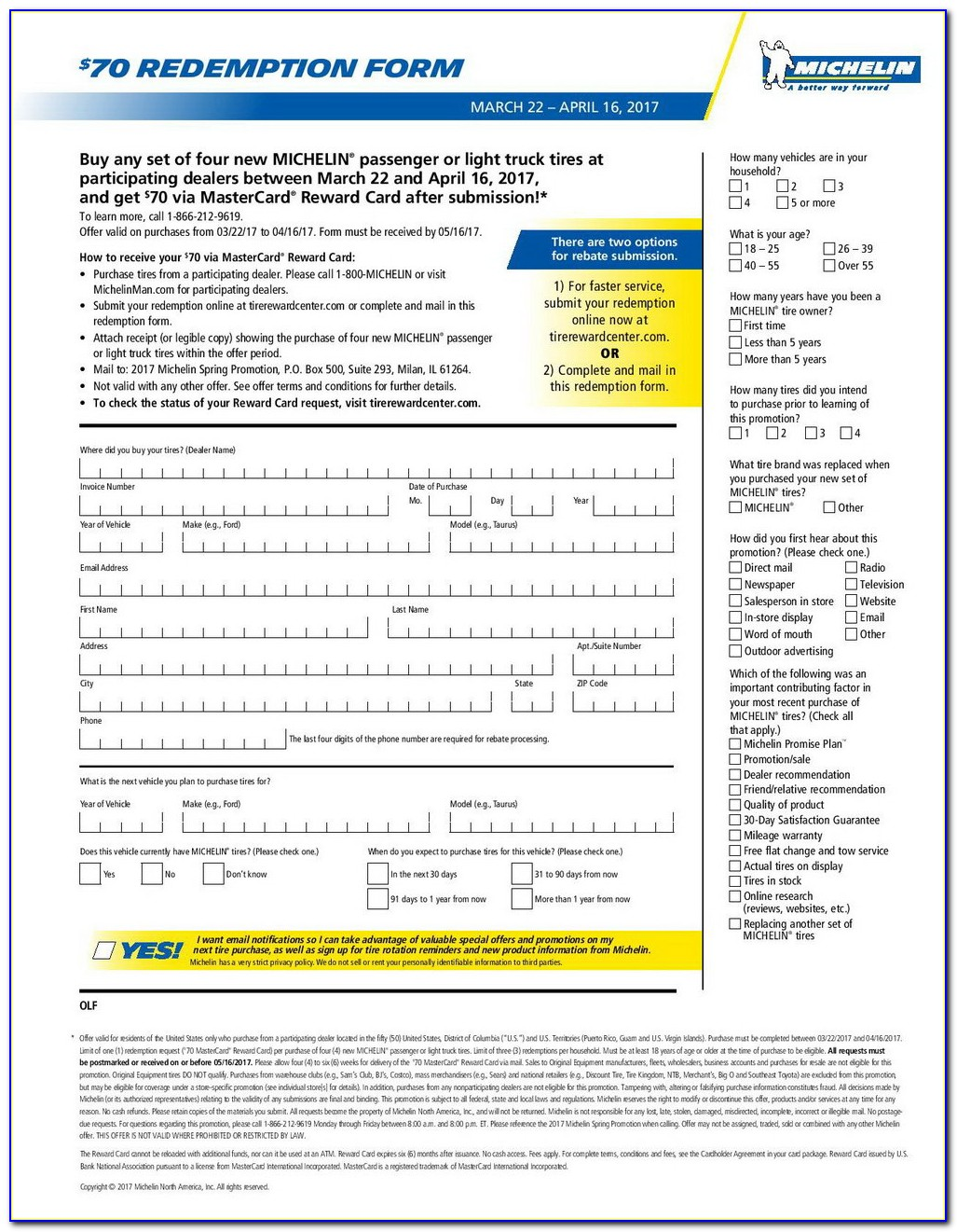 Michelin Tire Rebate Form September 2017