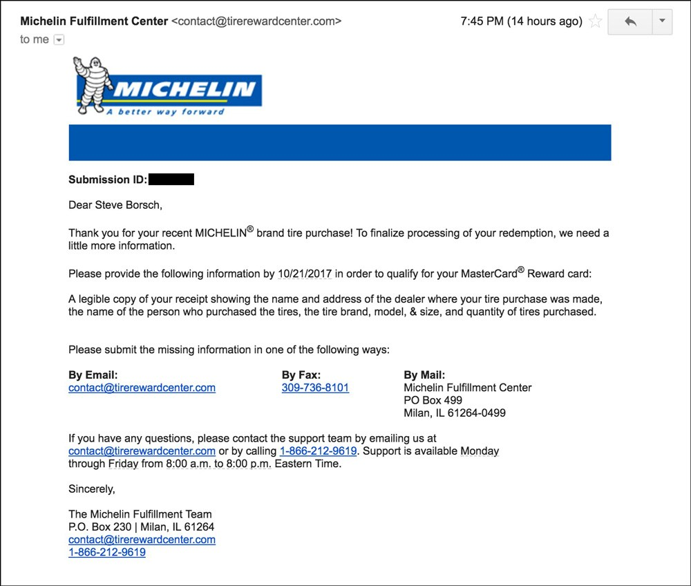 Michelin Tire Rebate Form September 2018