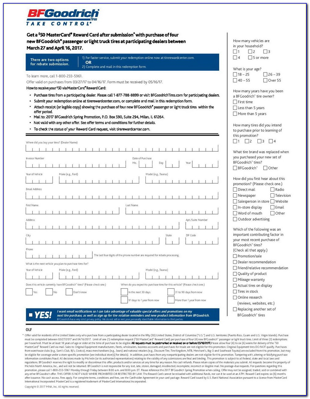 Michelin Tires Rebate Form 2018