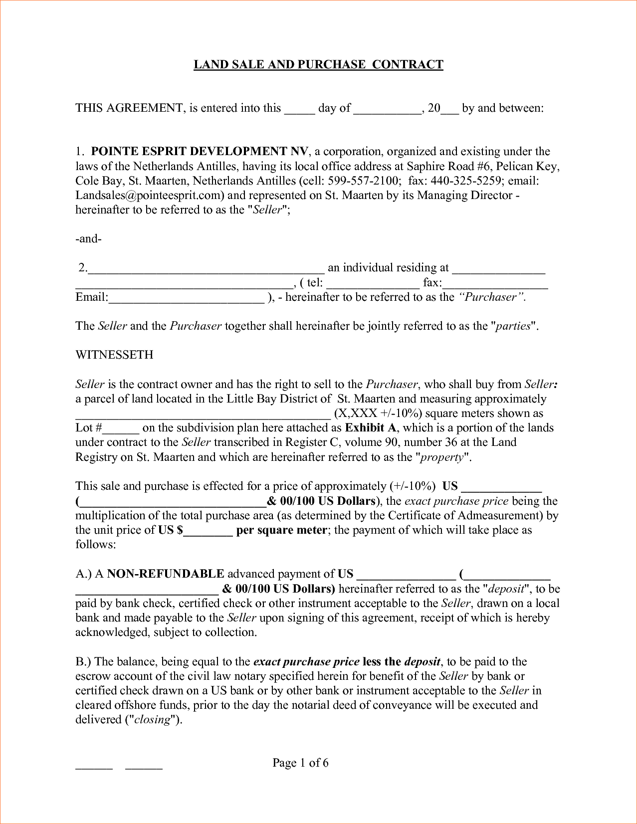 Michigan Land Contract Form Pdf
