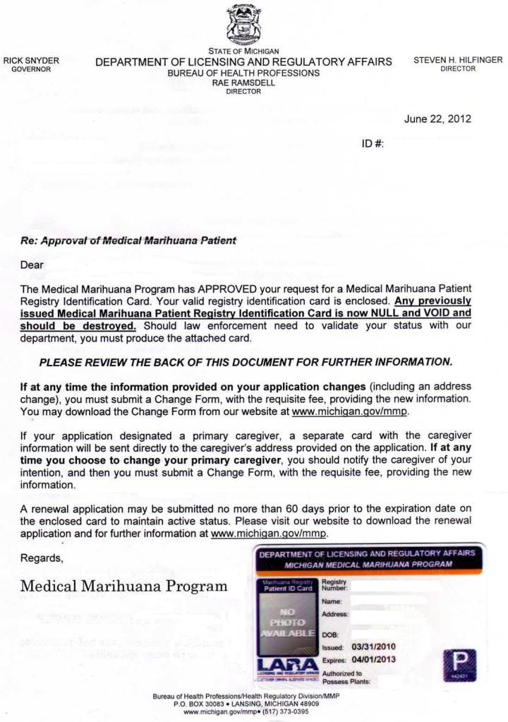 Michigan Medical Marihuana Application Form