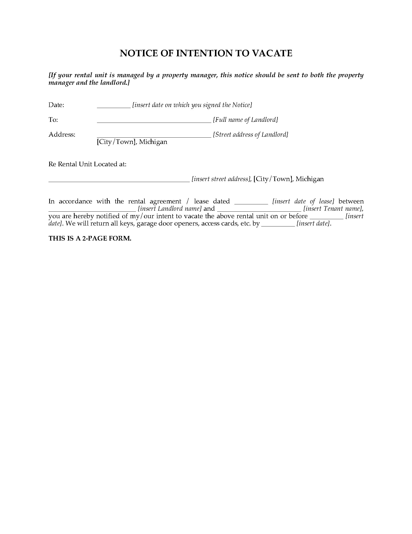 Michigan Notice To Vacate Forms