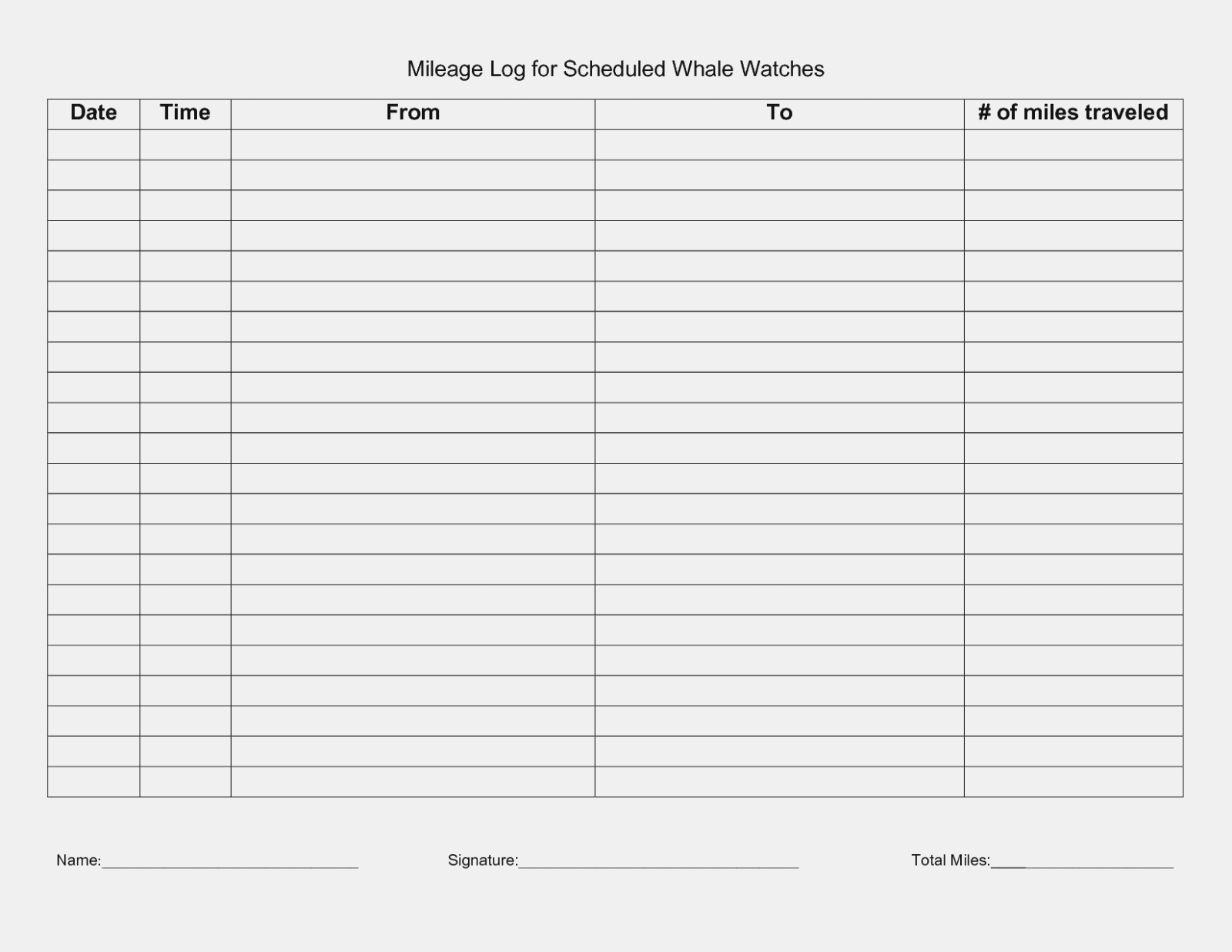Mileage Log Form For Irs