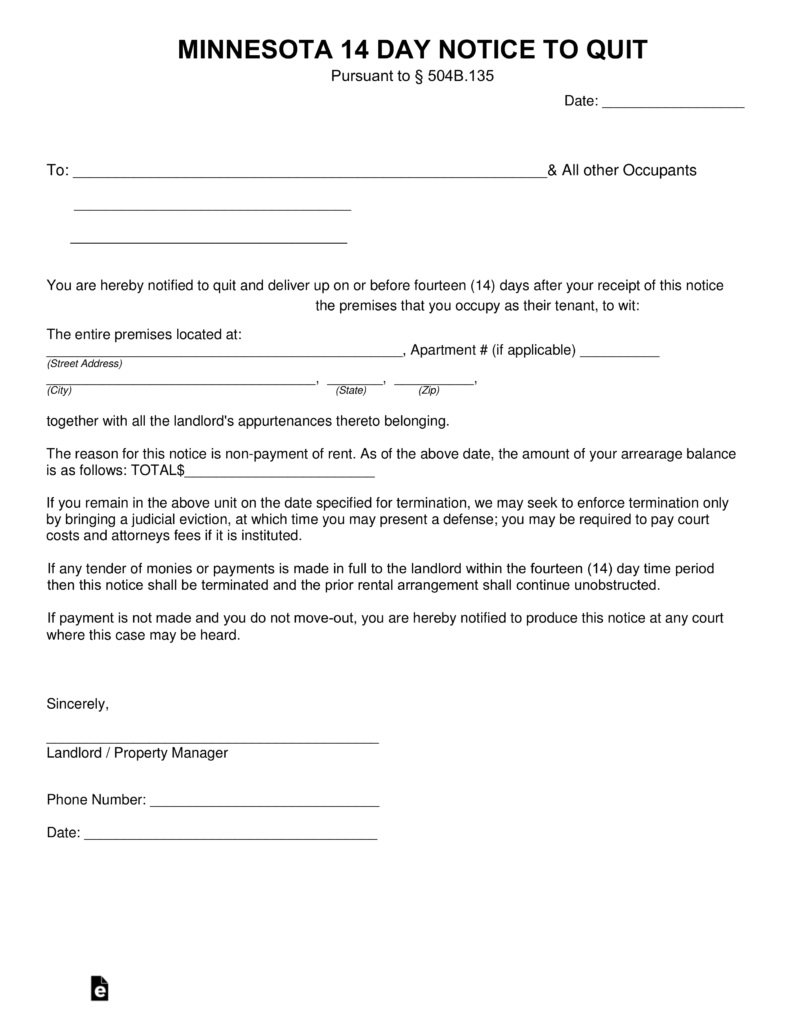 Minnesota Landlord Notice To Vacate Form