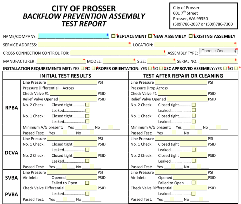 Missouri Backflow Test Forms