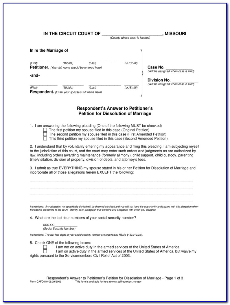Missouri Courts Dissolution Marriage Forms
