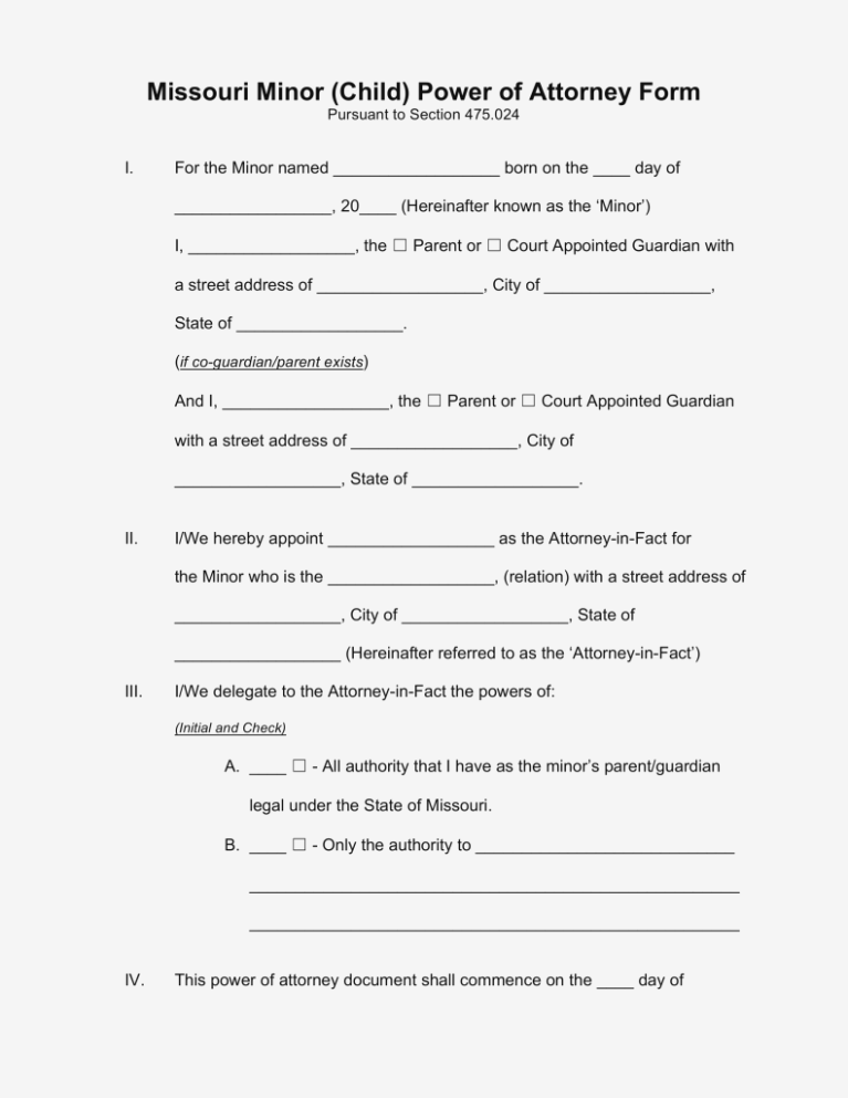 Missouri Power Of Attorney Form Minor Child
