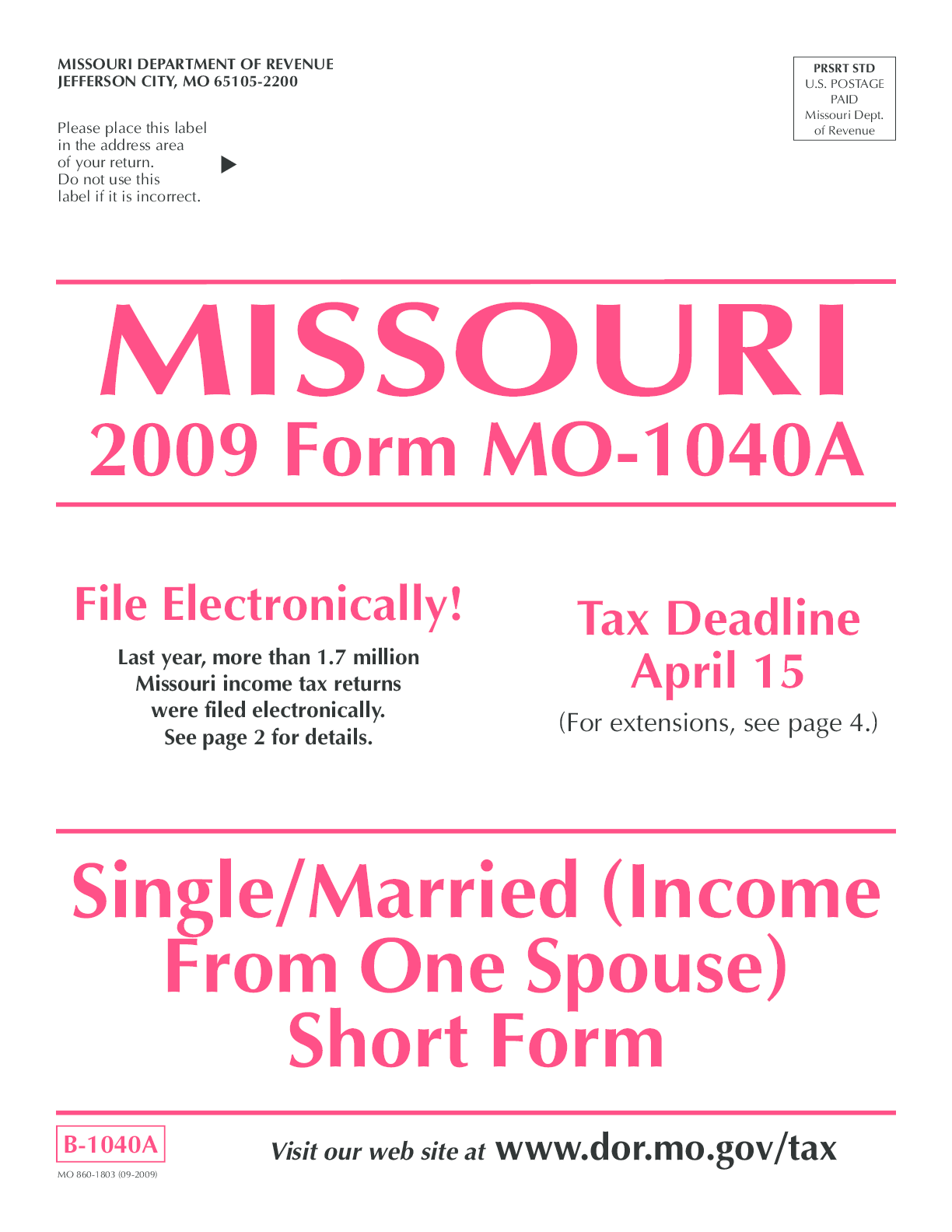 Mo 1040a Fillable Form