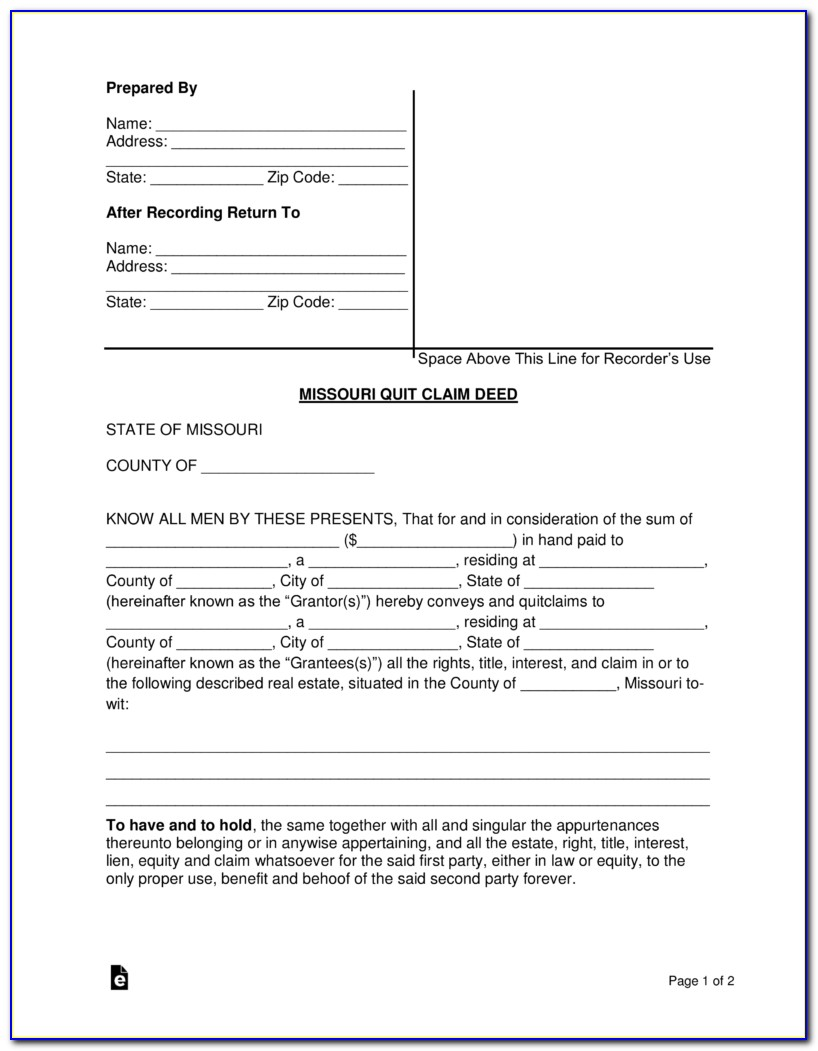 Mo Quit Claim Deed Form Free